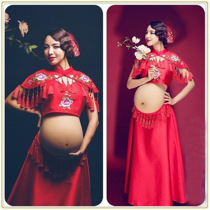 【優上精品】原創孕婦拍照攝影服裝影樓寫真服裝大肚照主題性感古裝照 孕婦寫真服(Z-P3102)