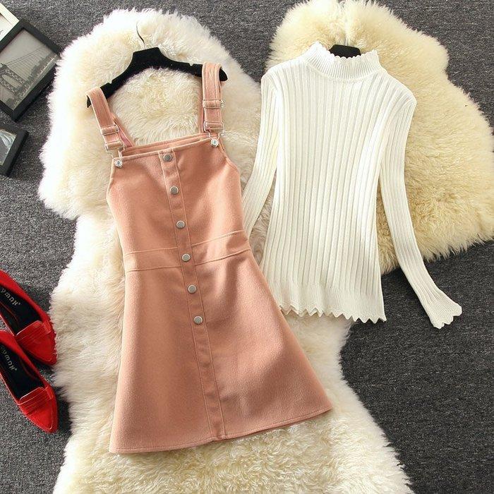 ☆女孩衣著☆長袖修身甜美針織衫呢子裙兩件套裝裙連衣裙女學生短裙打底背帶裙(NO.80)