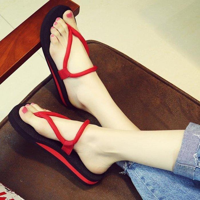新款時尚人字拖女夏平底涼拖沙灘鞋情侶坡跟外穿防滑厚底拖鞋