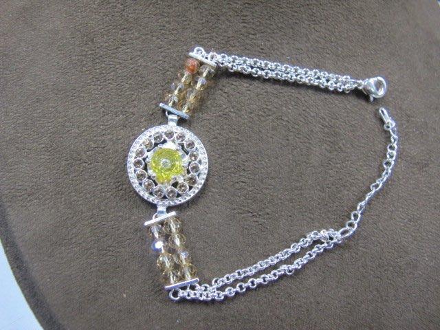 二手舖 NO.3964 黃水晶鑲鑽造型手鍊 手環 首飾飾品