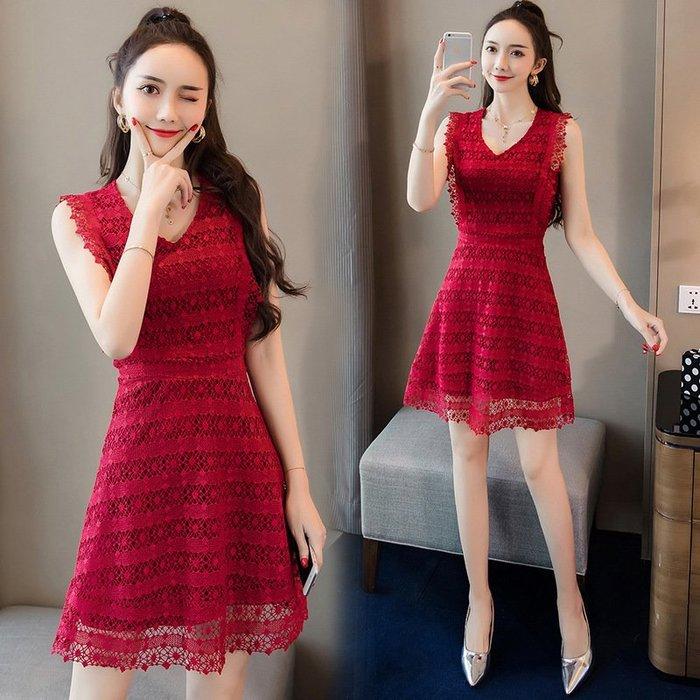 【超特價】連身裙新款性感女裝韓版小個子顯瘦洋裝字裙鏤空蕾絲領無袖性感
