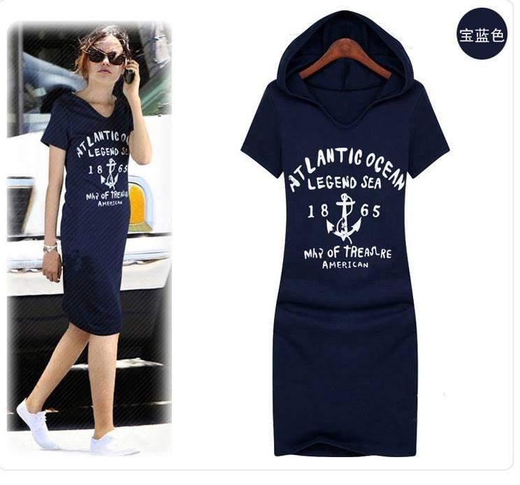 [全新商品] 韓國顯瘦休閒運動女短袖印字修身連身裙連帽裙子洋裝(寶藍色)