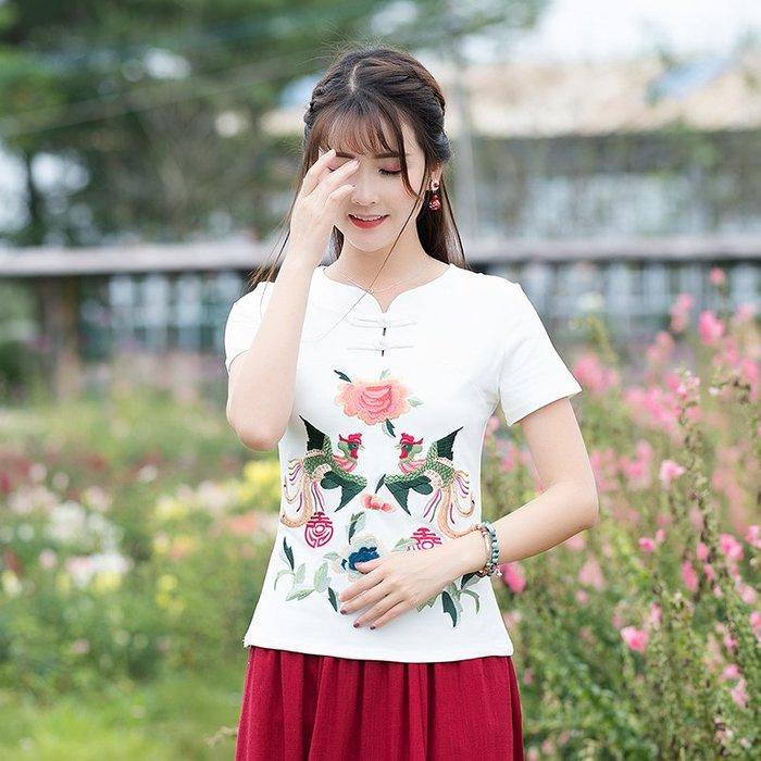 創意 民族風時尚中國民族風夏季顯瘦打底半袖大碼上衣新款女裝復古刺繡短袖T恤衫