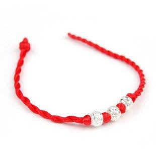 奇奇店-手鏈飾品轉運辟邪祈福紅繩子鍍銀3個圓珠手繩女銀色珠子手鐲#佛教開光 #祈求平安 #好運來