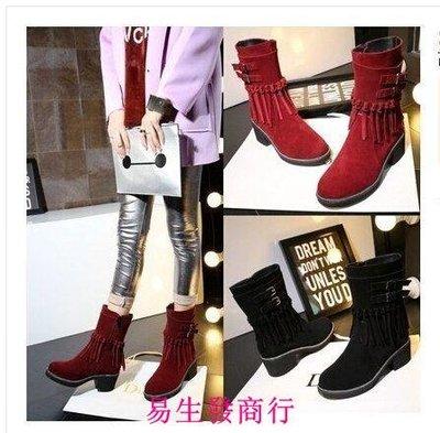 【易生發商行】秋冬韓版女靴甜美粗跟鞋子...