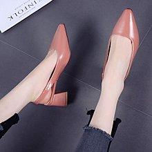 2018春夏新款韓版中跟尖頭后空涼鞋女時尚百搭淺口低跟粗跟單鞋潮
