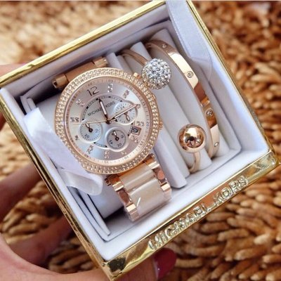Michael Kors 三件組 手環 手錶 玫瑰金 水鑽 粉色 鋼帶 三眼計時 MK手錶 手錶 MK MK5896