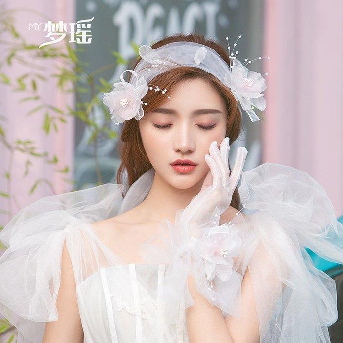 西柚姑娘雜貨鋪☛熱賣中#超仙白色仙女發帶娟紗花朵發夾手套韓式結婚飾品婚紗頭飾