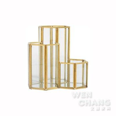 鍍金黃銅崁玻璃六角型三邊筆筒化妝筒 Z177-C *文昌家具*