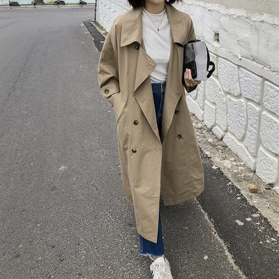 ☆Bubble Lady ☆ 【E706】 經典卡其寬鬆翻領中長風衣外套