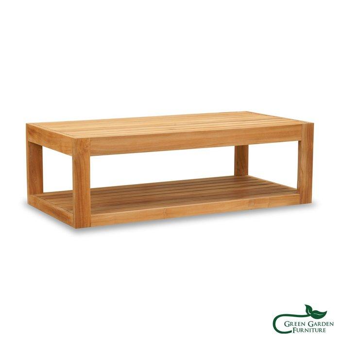 墨西哥 柚木雙層咖啡桌(120上下條/原色)【大綠地家具】100%印尼柚木實木/無上漆原木款/實木茶几/咖啡桌