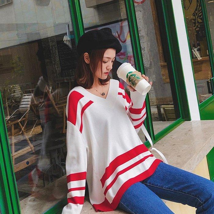 999外套 針織 開衫 休閒 復古 學院風毛衣女套頭寬松V領韓版秋季小清新內搭針織衫甜美