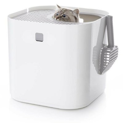 Ω永和喵吉汪Ω-防狗吃貓砂,減少帶砂效果一級棒~MODKO/MODKAT紐約摩登機能美廁(簡約白)白色 貓砂盆 貓便盆