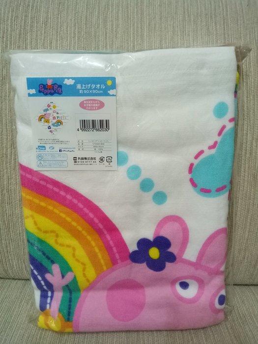 天使熊雜貨小鋪~日本帶回兒童浴巾 大方巾 90×90 現貨:peppa pig  全新現貨
