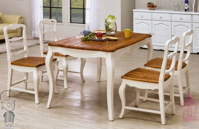 【X+Y時尚精品傢俱】現代餐桌椅系列-卡諾琳 4.3尺鄉村風全實木餐桌不含白色餐椅.摩登家具