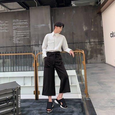 襯衫 韓版 2019新款原創時尚個性大口袋設計腰絆帶黑色八分褲男士百搭九分褲