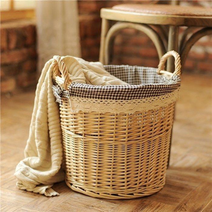 編織藤編柳編臟衣服收納筐 洗衣籃 家用簡約臟衣簍臟衣籃 籃 子收納桶
