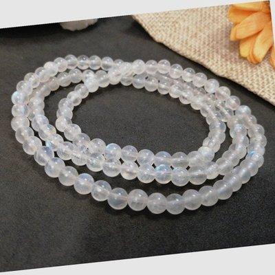 天然藍月光手鍊 奶油體 5mm 月光石手鍊3圈多圈 水晶手鍊 串珠項鍊 圓珠手珠【小玲唲】