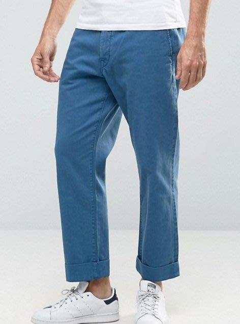 ◎美國代買◎ASOS代買反摺褲口寛鬆剪裁復古藍色寛鬆反摺九分長牛仔褲~歐美街風~大尺碼-