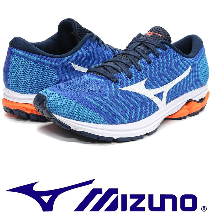 鞋大王Mizuno J1GC-182907 藍×白 WAVEKNIT R1 飛織鞋面慢跑鞋【免運費,加贈襪子】748M