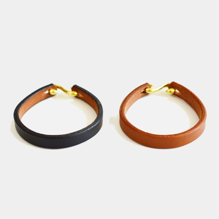 X10  手工製作  小牛皮  皮手環  厚  真皮 日式  黃銅S勾  工藝  GORO 現貨