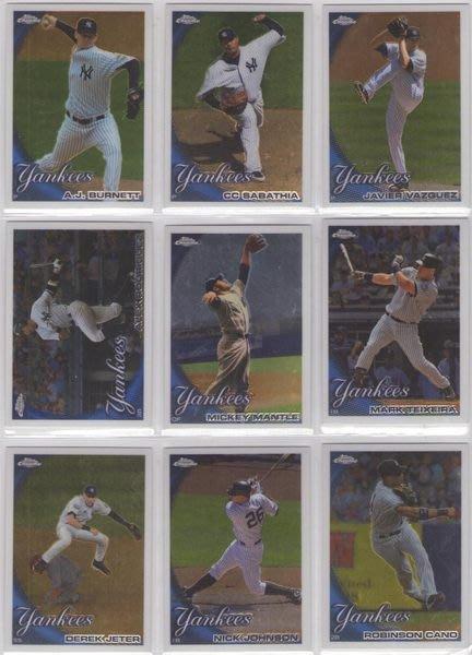 最新拆出2010 Topps Chrome 洋基隊隊卡一套13張 Yankees A-Rod+Mantle+Jeter+Sabathia+Posada+Cano