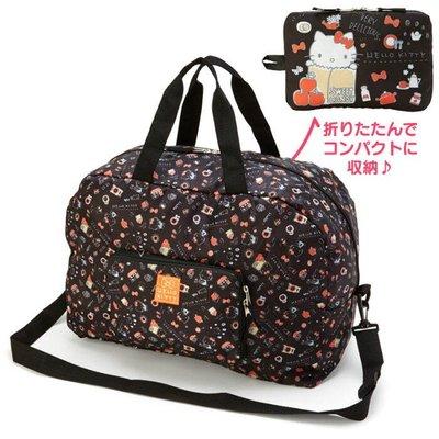 Co媽精品代購 預購 日本正版 Hello Kitty 折疊尼龍行李袋 可放行李箱拉桿旅行袋 側背袋