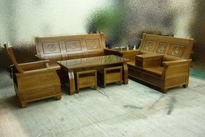 樂居二手家具*ZH888 全新樟木實木沙發組*含大小茶几+輔助椅 座位上掀即可收納 實木沙發 樟木沙發 全新樟木沙發