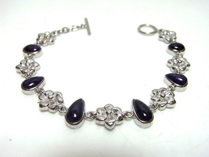 小風鈴~純天然頂級皇家紫舒俱徠石寶石925銀白K包框手鍊
