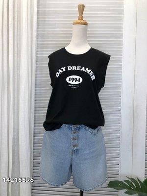 正韓 korea韓國空運ADORABLE黑色1994英文字圓領背心   現貨  小齊韓衣