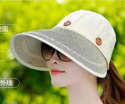 遮陽帽女夏天防曬可折疊戶外騎車沙灘帽子大檐防紫外線草帽太陽帽