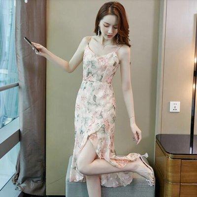 酷利男=酷利男=洋裝 裙子 短袖 甜美 S-XL新款歐根紗吊帶粉色碎花連身裙女荷葉邊顯瘦高腰氣質仙女裙T539B-2843.