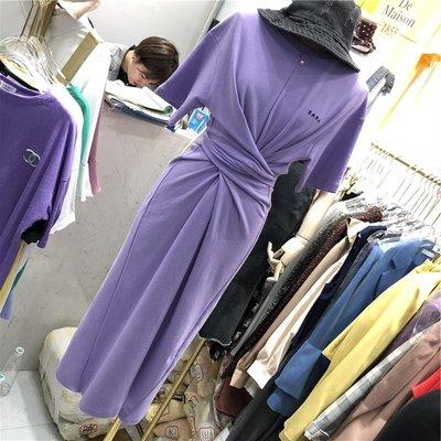 正韓⌒收腰綁帶長版開岔連身裙⌒長款棉T恤洋裝⌒S- 4XL   『AS0017 』