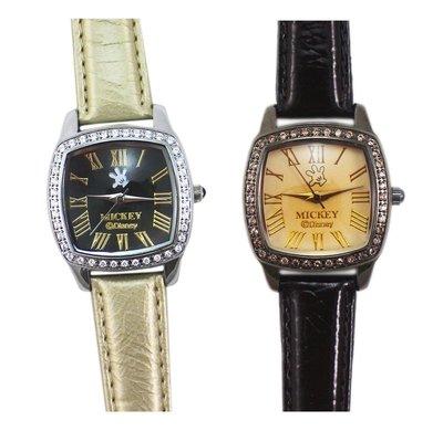【卡漫迷】 米奇 水鑽 手錶 2選1 ㊣版 Mickey 米老鼠 復古設計 女性 女錶 卡通錶 原價2180 六折出清