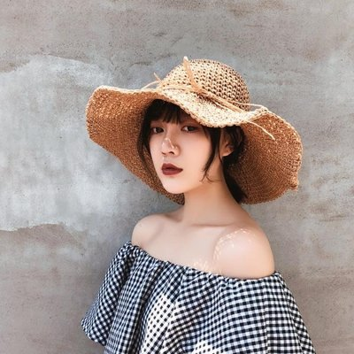 帽子女夏小清新鉤針草帽韓版 百搭 可摺疊遮陽帽海邊度假沙灘太陽帽  時尚 精品 配飾 促銷