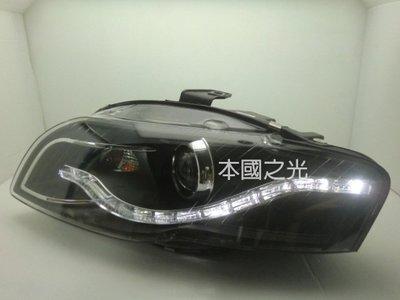 oo本國之光oo 全新 AUDI 奧迪 2004 2005 2006 2007 A4 B7 LED 光條黑框魚眼大燈