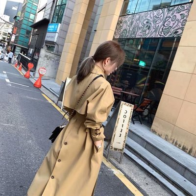 [ ohya梨花 ] =韓國帶回=最新秋冬新款甜美穿搭英倫風卡其風衣造型長大衣外套