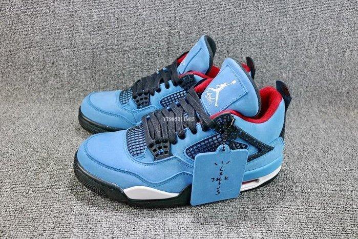 Air Jordan 4 x Travis Scott Cactus AJ4 藍色 經典 麂皮 中筒 休閒運動籃球鞋 男鞋 308497-406