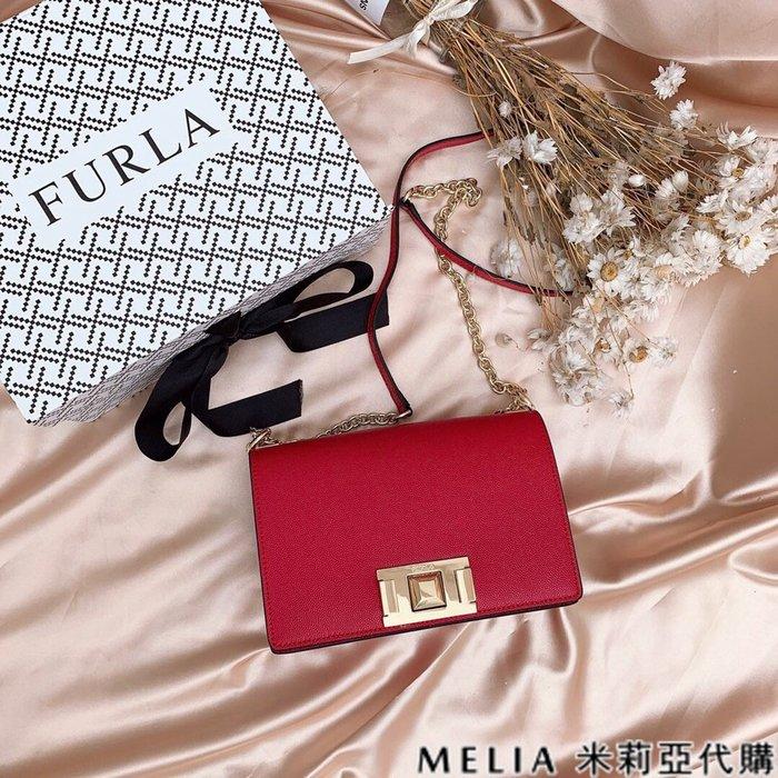 Melia 米莉亞代購 商城特價 數量有限 FURLA MINI 斜背包 牛皮魚子醬紋 時尚簡約 氣質百搭 正紅色