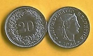 圖檔在此((點商品問與答)))瑞士法朗錢幣( 20分有2枚,10分2枚) 品相極佳 (如圖)---