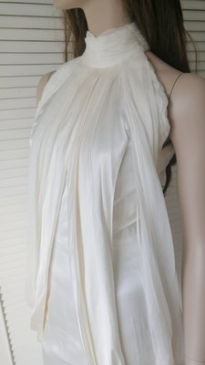 ALBERTA FERRETTI 乳白色蠶絲高領削肩S型小洋裝