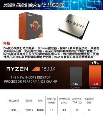 【捷修電腦。士林】AMD Ryzen 7-1800X 3.6GHz八核心處理器 全新 理商盒裝貨 無風扇 $ 17900