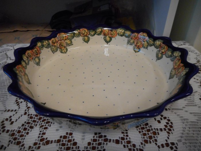 ~~凡爾賽生活精品~~全新波蘭進口手工彩繪玫瑰花造型大派盤.大餐盤.水果盤.點心盤