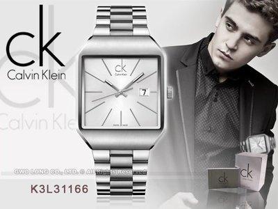 CASIO手錶專賣店 國隆 CK手錶 Calvin Klein 瑞士_K3L31166_方型紳士錶_保固一年_開發票