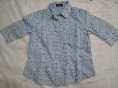 女裝水藍色小花七分袖襯衫