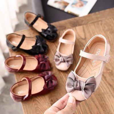 韓版 懶人鞋 公主兒童平底鞋蝴蝶結可愛單鞋  軟底皮鞋 豆豆鞋 涼鞋—莎芭