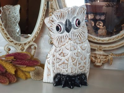 【卡卡頌 歐洲古董】歐洲老件  手工雕刻  可愛雪地  大眼  貓頭鷹  木雕擺飾  w0254 ✬