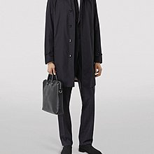 BURBERRY 深藍色經典格紋羊毛內裡風衣長大衣