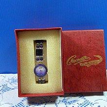 【水晶錶】全新絕版 鱷魚錶 (圓紫框紫面)水晶錶帶手圍可調整 附盒 尺寸:9*3.5*2.5㎝ 重量:90g