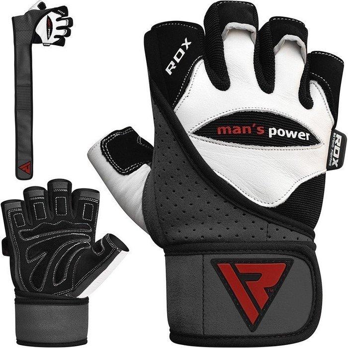 【神拳阿凱】RDX 英國 WGL-L1W 重訓健身訓練手套 加長護腕襯墊加厚型 真皮經典手套(免運)